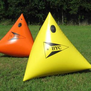 Yellow and Orange Tetra Buoys with Logos